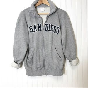Vintage San Diego VSCO Girl Zip Up Sweatshirt Gray